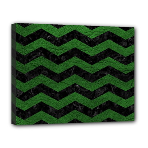 CHEVRON3 BLACK MARBLE & GREEN LEATHER Canvas 14  x 11