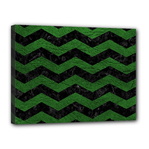 CHEVRON3 BLACK MARBLE & GREEN LEATHER Canvas 16  x 12