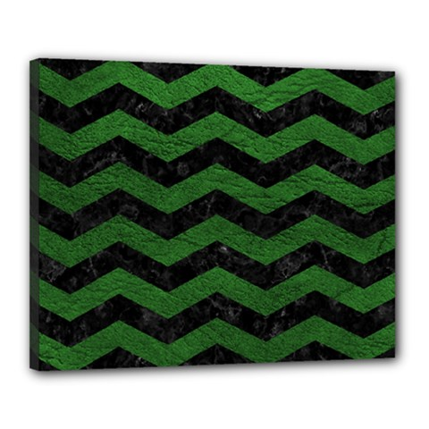 CHEVRON3 BLACK MARBLE & GREEN LEATHER Canvas 20  x 16
