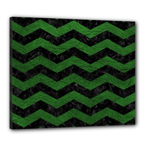 CHEVRON3 BLACK MARBLE & GREEN LEATHER Canvas 24  x 20
