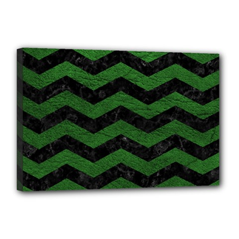 CHEVRON3 BLACK MARBLE & GREEN LEATHER Canvas 18  x 12