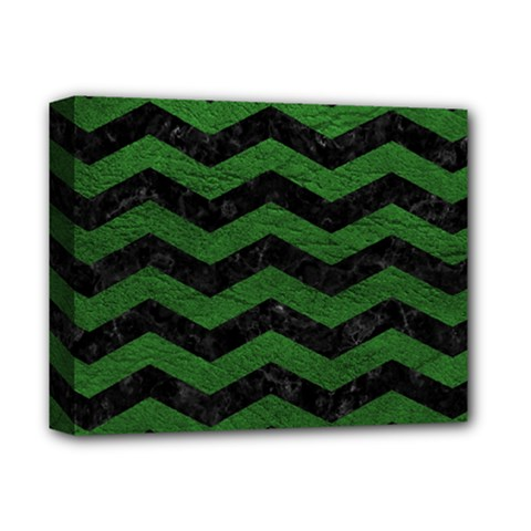 CHEVRON3 BLACK MARBLE & GREEN LEATHER Deluxe Canvas 14  x 11