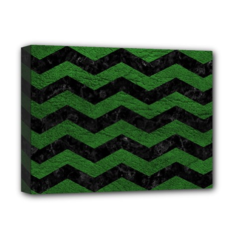 CHEVRON3 BLACK MARBLE & GREEN LEATHER Deluxe Canvas 16  x 12