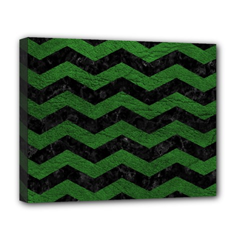 CHEVRON3 BLACK MARBLE & GREEN LEATHER Deluxe Canvas 20  x 16