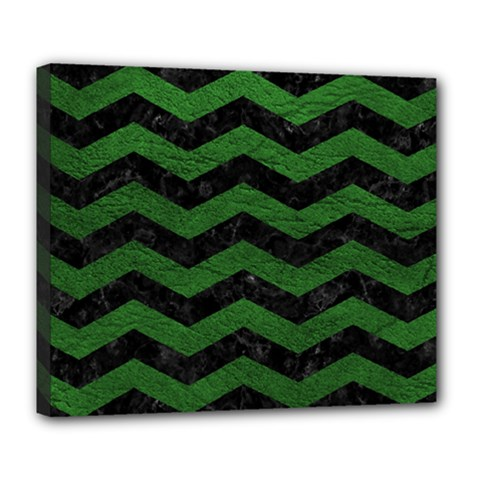 CHEVRON3 BLACK MARBLE & GREEN LEATHER Deluxe Canvas 24  x 20