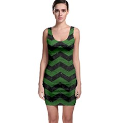 CHEVRON3 BLACK MARBLE & GREEN LEATHER Bodycon Dress