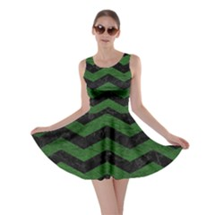 CHEVRON3 BLACK MARBLE & GREEN LEATHER Skater Dress