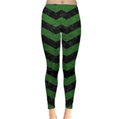 CHEVRON3 BLACK MARBLE & GREEN LEATHER Leggings