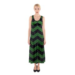 CHEVRON3 BLACK MARBLE & GREEN LEATHER Sleeveless Maxi Dress