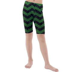 CHEVRON3 BLACK MARBLE & GREEN LEATHER Kids  Mid Length Swim Shorts