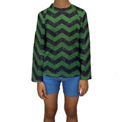 CHEVRON3 BLACK MARBLE & GREEN LEATHER Kids  Long Sleeve Swimwear