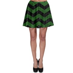 CHEVRON3 BLACK MARBLE & GREEN LEATHER Skater Skirt