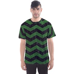 CHEVRON3 BLACK MARBLE & GREEN LEATHER Men s Sports Mesh Tee