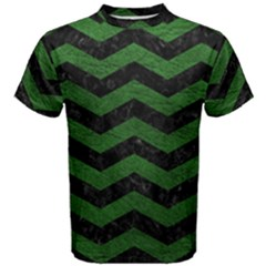 CHEVRON3 BLACK MARBLE & GREEN LEATHER Men s Cotton Tee