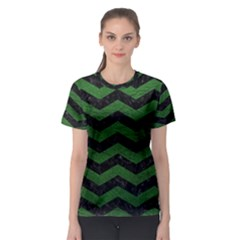 CHEVRON3 BLACK MARBLE & GREEN LEATHER Women s Sport Mesh Tee