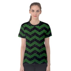 CHEVRON3 BLACK MARBLE & GREEN LEATHER Women s Cotton Tee