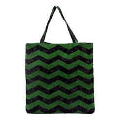 CHEVRON3 BLACK MARBLE & GREEN LEATHER Grocery Tote Bag