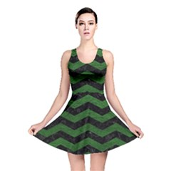 CHEVRON3 BLACK MARBLE & GREEN LEATHER Reversible Skater Dress
