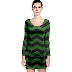 CHEVRON3 BLACK MARBLE & GREEN LEATHER Long Sleeve Bodycon Dress