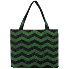 CHEVRON3 BLACK MARBLE & GREEN LEATHER Mini Tote Bag