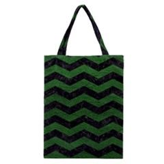 CHEVRON3 BLACK MARBLE & GREEN LEATHER Classic Tote Bag