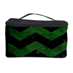 CHEVRON3 BLACK MARBLE & GREEN LEATHER Cosmetic Storage Case
