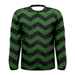 CHEVRON3 BLACK MARBLE & GREEN LEATHER Men s Long Sleeve Tee