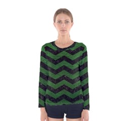 CHEVRON3 BLACK MARBLE & GREEN LEATHER Women s Long Sleeve Tee