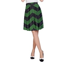 CHEVRON3 BLACK MARBLE & GREEN LEATHER A-Line Skirt