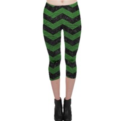 CHEVRON3 BLACK MARBLE & GREEN LEATHER Capri Leggings