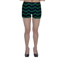 CHEVRON3 BLACK MARBLE & GREEN LEATHER Skinny Shorts