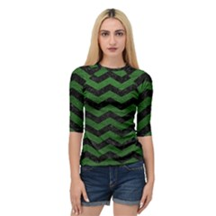 CHEVRON3 BLACK MARBLE & GREEN LEATHER Quarter Sleeve Raglan Tee