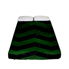 CHEVRON3 BLACK MARBLE & GREEN LEATHER Fitted Sheet (Full/ Double Size)