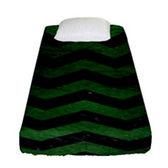 CHEVRON3 BLACK MARBLE & GREEN LEATHER Fitted Sheet (Single Size)