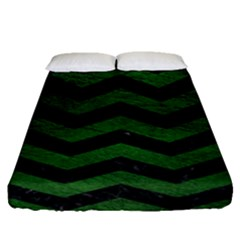 CHEVRON3 BLACK MARBLE & GREEN LEATHER Fitted Sheet (Queen Size)