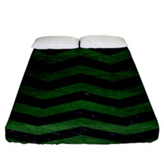 CHEVRON3 BLACK MARBLE & GREEN LEATHER Fitted Sheet (King Size)