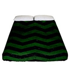 CHEVRON3 BLACK MARBLE & GREEN LEATHER Fitted Sheet (California King Size)