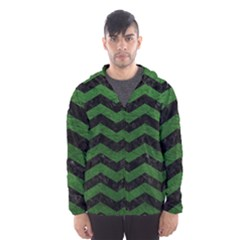 CHEVRON3 BLACK MARBLE & GREEN LEATHER Hooded Wind Breaker (Men)