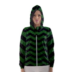 CHEVRON3 BLACK MARBLE & GREEN LEATHER Hooded Wind Breaker (Women)