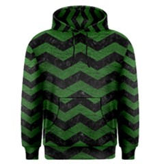 CHEVRON3 BLACK MARBLE & GREEN LEATHER Men s Pullover Hoodie