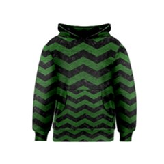 CHEVRON3 BLACK MARBLE & GREEN LEATHER Kids  Pullover Hoodie