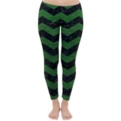 CHEVRON3 BLACK MARBLE & GREEN LEATHER Classic Winter Leggings