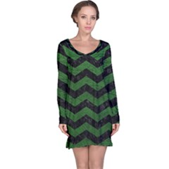 CHEVRON3 BLACK MARBLE & GREEN LEATHER Long Sleeve Nightdress