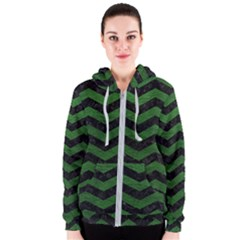 CHEVRON3 BLACK MARBLE & GREEN LEATHER Women s Zipper Hoodie