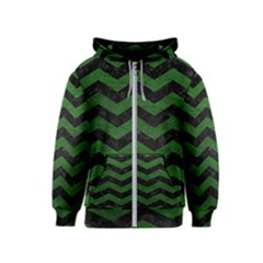 CHEVRON3 BLACK MARBLE & GREEN LEATHER Kids  Zipper Hoodie