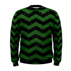 CHEVRON3 BLACK MARBLE & GREEN LEATHER Men s Sweatshirt
