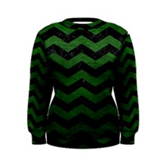 CHEVRON3 BLACK MARBLE & GREEN LEATHER Women s Sweatshirt