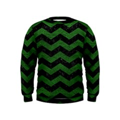 CHEVRON3 BLACK MARBLE & GREEN LEATHER Kids  Sweatshirt