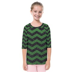 CHEVRON3 BLACK MARBLE & GREEN LEATHER Kids  Quarter Sleeve Raglan Tee