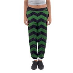 CHEVRON3 BLACK MARBLE & GREEN LEATHER Women s Jogger Sweatpants